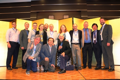 The current and former presidents of the Poe Society of Japan, the Nathaniel Hawthorne Society of Japan, the Poe Studies Association, and the Nathaniel Hawthorne Society pose for a photo at the conference banquet. Photo credit: Yu Kominami